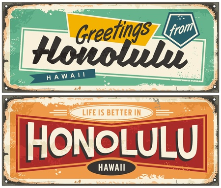 Honolulu Hawaii tin sign souvenir card idea. Greetings from Honolulu unique retro post card design.