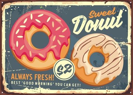 Donuts retro commercial sign design Illusztráció