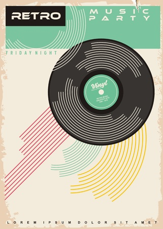 Retro music party poster design. Vinyl record gramophone disc on old paper texture.