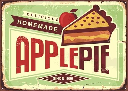 Retro segno pubblicitario promozionale della torta di mele fatta in casa deliziosa. Manifesto di panetteria vintage.