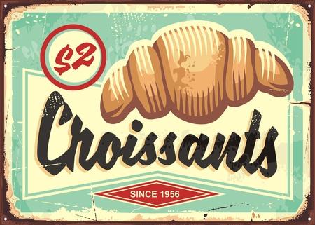 Segno di panetteria retrò croissant. Illustrazione vettoriale di cibo. Vettoriali