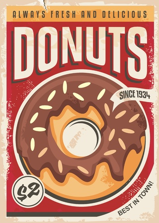 Donuts promotional retro poster design. Vector ad template for bakery shop. Food theme. Ilustración de vector