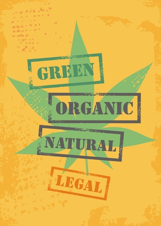Vector illustration of marijuana leaf on yellow grunge background. T shirt  graphic template with cannabis plant.