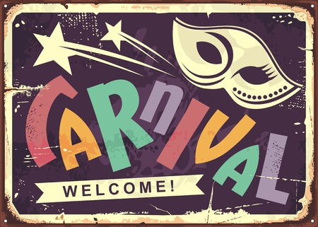 Carnival retro tin sign design. Invitation poster with mask shape and colorful text. Vector old fashioned wall decoration.  イラスト・ベクター素材