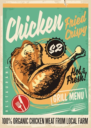 Crispy fried chicken legs retro restaurant menu design with artistic hand drawing Vectores