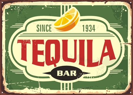 Tequila bar vintage tin sign for Mexican traditional alcohol drink. Promotional advertising with unique typography shape and slice of lemon.