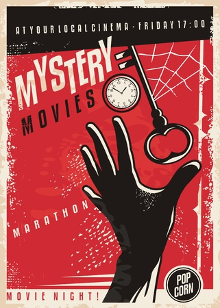 Mystery movies marathon retro cinema poster design. Film poster template with hand silhouette, clock,  key and spider web.
