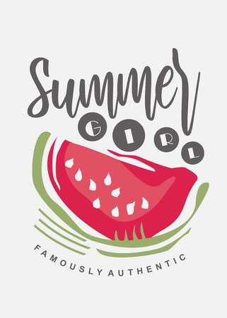 Tee shirt print template with watermelon graphic. Girls dress appearance with summer fruit and playful typo. Fashion vector pattern.