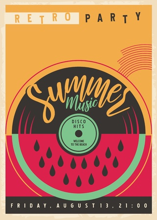 Summer disco party invitation with vinyl record and watermelon Ilustrace