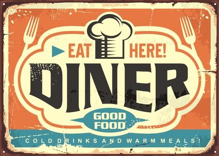 Diseño de cartel de chapa de restaurante retro diner con gorro de chef, tenedores y letras creativas