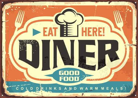 Retro diner restaurant tin sign design with chef hat, forks and creative lettering 免版税图像 - 118769297