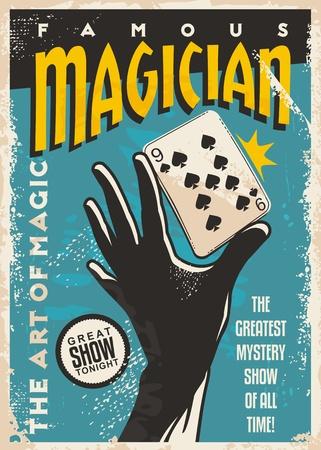 Diseño de cartel de mago con silueta de mano y naipes. Trucos de magia muestran plantilla retro sobre fondo azul.