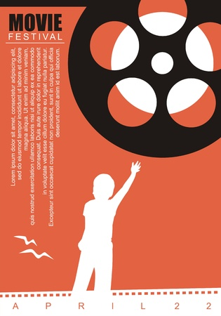 Movie film poster background with film reel and kid graphic Illustration