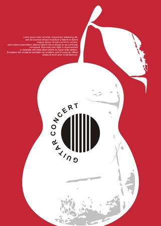 Classical guitar concert artistic poster design. Music  invitation layout for musical event. Vector art.