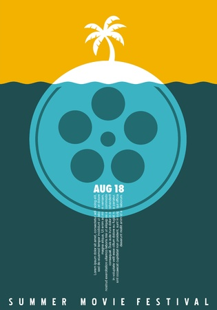 Summer movie festival simple minimalist poster concept with film reel  and palm tree on tropical island. Film and cinema  . Symbolic vector illustration.