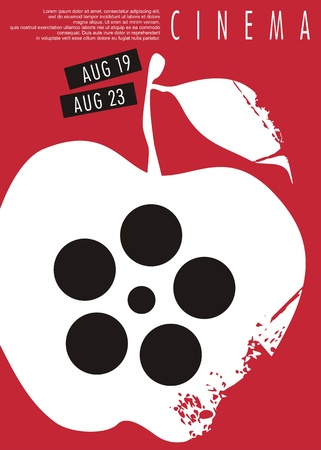 Apple graphic. Cinema poster.  Film event poster design on red background. Vector art.