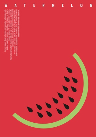 Watermelon minimalists banner design. Fruit poster abstract background concept with flat style watermelon slice. Summer vector  . Ilustração