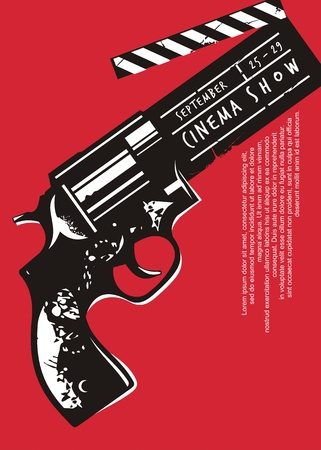 Creative movie event poster with gun graphic and clapper board. Cinema  design on red background. Illustration