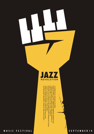 Poster idea for jazz festival. Unique creative music concept with fist shape and piano keys. Jazz concert vector  . Stock Illustratie
