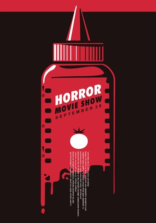 Horror movie show creative poster idea with ketchup bottle and film strip. Fake blood concept.  イラスト・ベクター素材