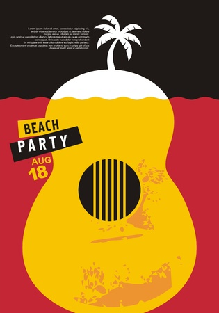 Beach party invitation design with palm tree and acoustic guitar under the sea. Sea and summer tropical vacation concept