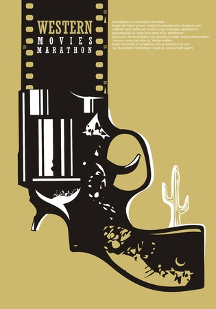 Western movies cinema poster design. Film industry advertise with revolver graphic, desert cactus and film strip.
