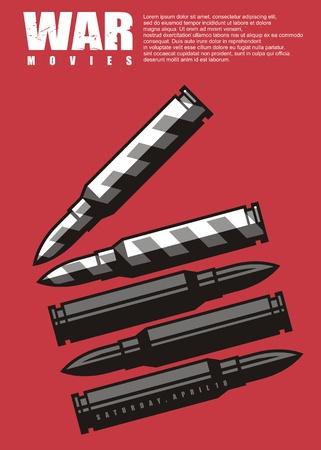 Kriegsfilmplakatdesign mit Klappbrett aus Munitionsgrafik
