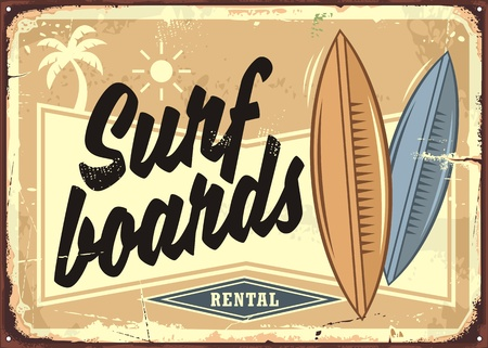 Surf boards rental retro beach sign layout. Sand, surfing and sea tropical paradise advertising.