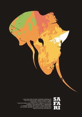 Safari travel poster design with elephant head and Africa continent shape. Adventures and wildlife promo  layout.