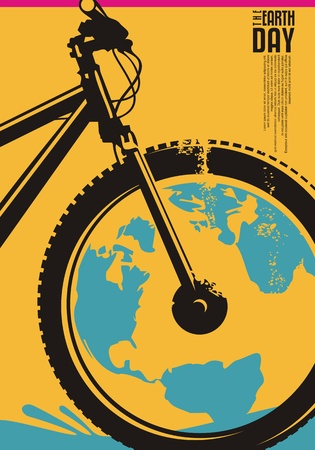 Earth day poster design concept with bicycle and globe shape. Ecology and environment theme. Archivio Fotografico - 118769214