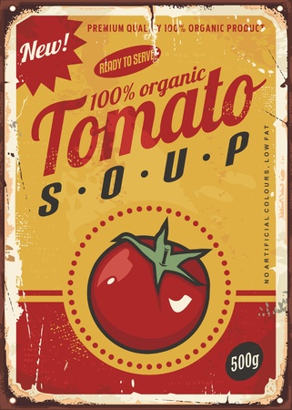 Tomato soup vintage metal sign image with juicy red tomato and creative typography