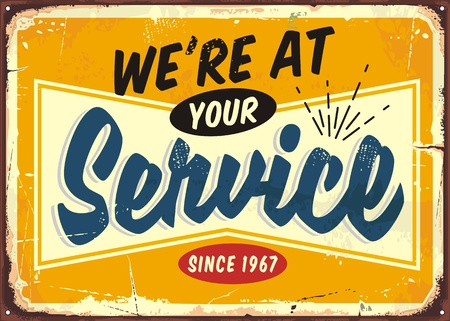 We are at your service retro store sign design Иллюстрация