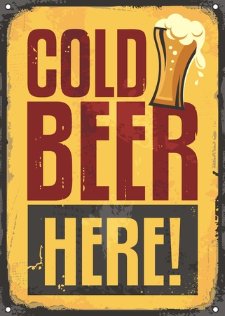 Cold beer here retro tin sign on yellow scratched background  イラスト・ベクター素材