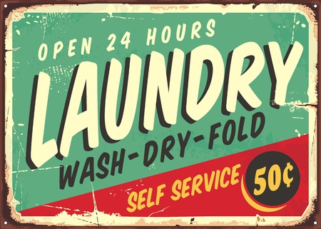 Laundry fifties comic style retro sign banner. Washing clothes promotional poster design on old rusty metal plate. Ilustração