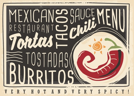Tacos, tortas, tostadas, burritos, chili, Mexican food restaurant menu design concept. Chalk board menu for hot and spicy food