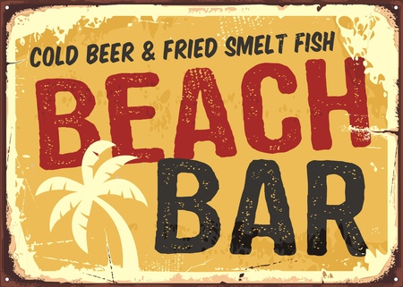 Beach bar retro damaged rusty sign board. Vintage advertisement for tropical cafe bar. Sun, summer and sea theme. Illustration