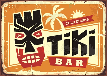 Tiki bar vintage tin sign with Hawaiian tiki mask and creative typography.