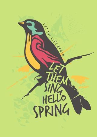 Colorful bird spring poster or tee shirt design. Hello spring creative card concept with modern vivid colors. Vector seasonal banner idea.