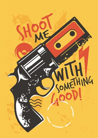 Modern t shirt graphic with gun and music cassette tape