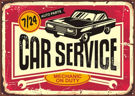 Car service vintage tin sign. Antique plaque with retro car on red damaged background. Vector illustration.  イラスト・ベクター素材