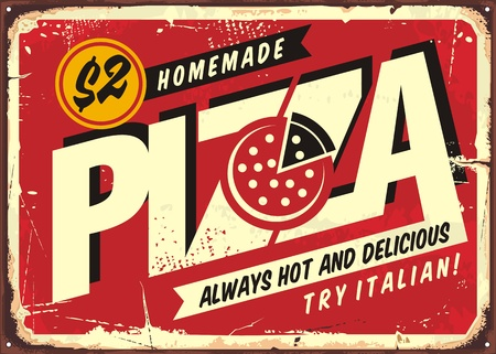 Homemade delicious pizza, vintage sign post for pizzeria restaurant. Creative typography design with pizza in negative space. Commercial promo vector poster on red scratched background. Reklamní fotografie - 118769167