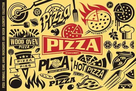 Pizza symbols,   signs, icons, emblems, ingredients and design elements collection.