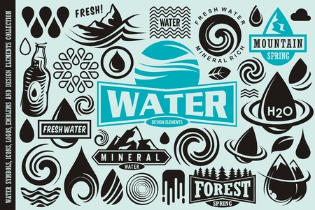 Water design elements collection. Water drops icons, symbols, emblems and badges vector set.