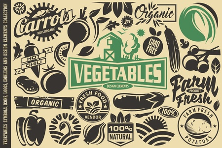 Vegetables design elements and symbols