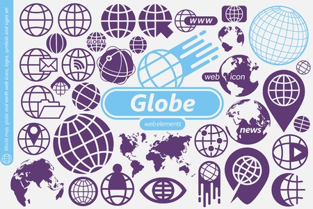 Globe, world map and earth symbols, icons, and design elements collection. Ilustração