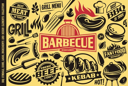 Grill and barbecue symbols, icons,labels,logos and design elements collection.