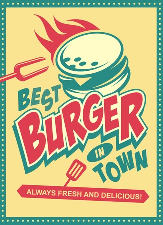 Best burger in town retro poster design with tasty burger on yellow background. Vector food illustration for fast food restaurant.