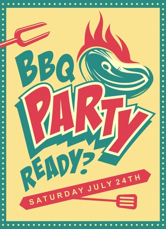 Funky design concept for barbecue party.