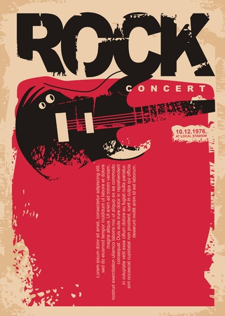 Rock concert poster template with electric guitar on grungy red background. Rock music flyer layout.