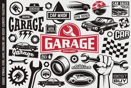 자동차 서비스 및 차고 기호, 로고, 엠블럼 및 아이콘 모음. 자동 교통 자동차 아이콘을 설정합니다.